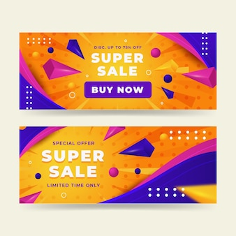 Realistic abstract sale banners set