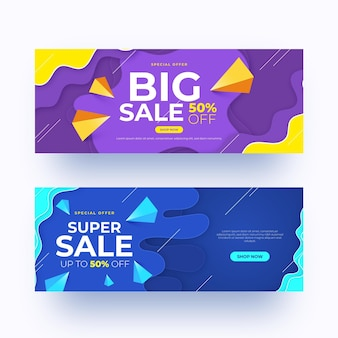 Realistic abstract sales banners