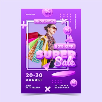 Realistic abstract vertical sale poster template