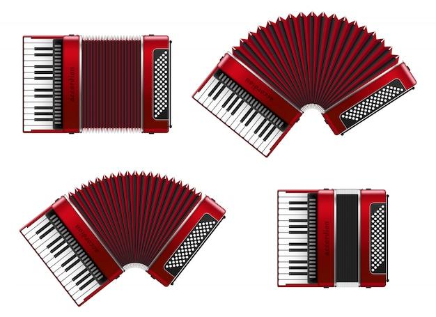 Realistic accordion   illustration isolated