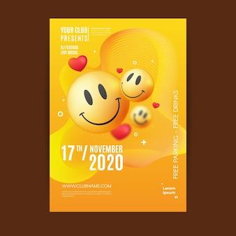 Realistic acid emoji poster template