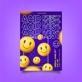 Poster realistico di emoji acido