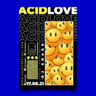 Realistic acid emoji poster
