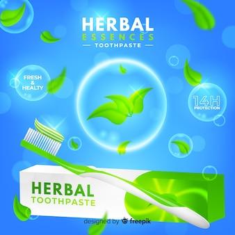 Реалистичная реклама свежей зубной пасты