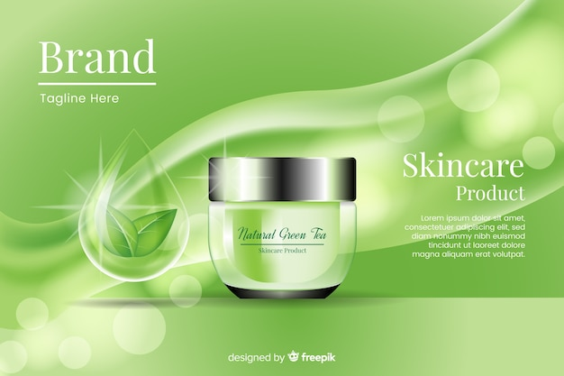 Realistic ad template for natural cream