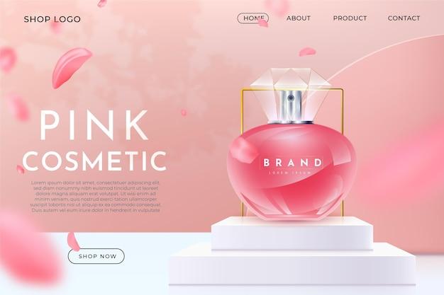 제품 방문 페이지가 있는 현실적인 광고