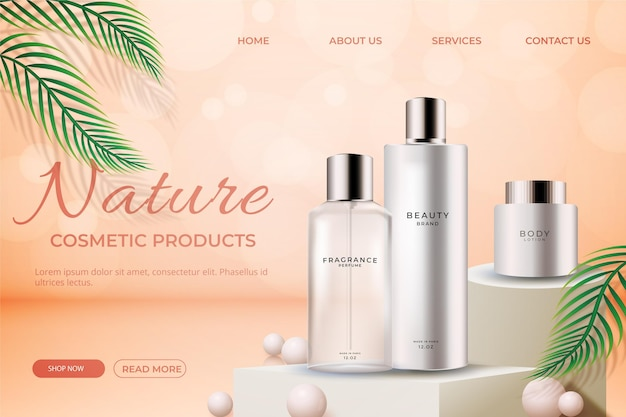 Realistic ad with product landing page