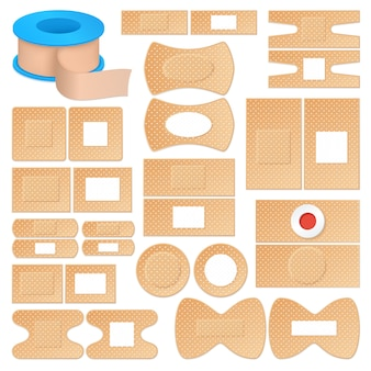 Realistic adhesive plasters set