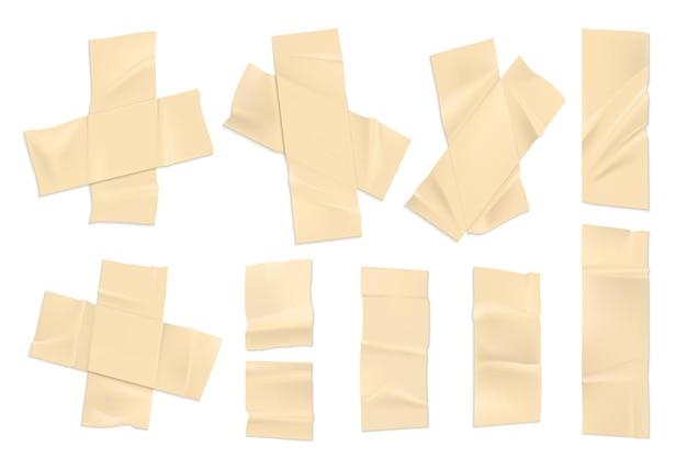 현실적인 접착 테이프. 가장자리가 찢어진 오래된 종이 조각, 끈적한 조각 셀로테이프. 흰색 배경에 고립 된 덕트 테이프의 벡터 일러스트 레이 션 설정 장식