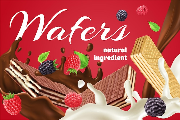 Realistic advertisement with chocolate cream and berry wafers made of natural ingredients on red background