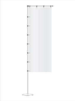 白い背景に分離された現実的な広告バナーフラグ