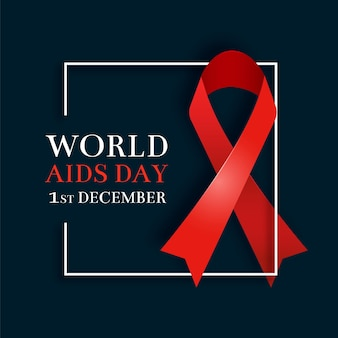 Realistic aids day red ribbon