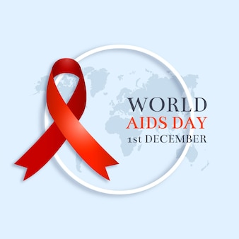 Realistic aids day ribbon