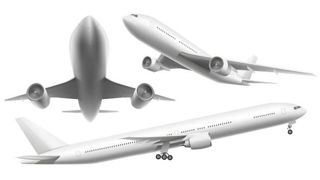 Realistic aircraft. passenger plane, sky flying aeroplane and airplane in different views isolated  illustration