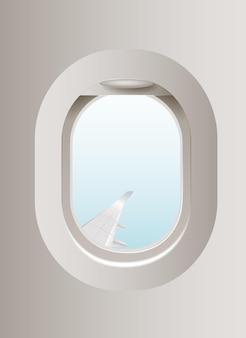 푸른 하늘 가진 현실적인 항공기 창 프리미엄 벡터