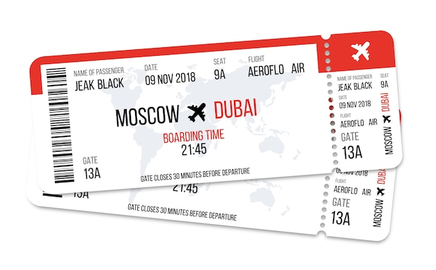 Realistic airline ticket design with passenger name.