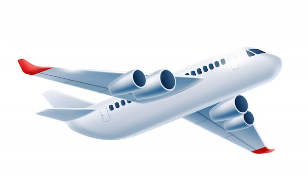 Realistic airplane aircraft white 3d