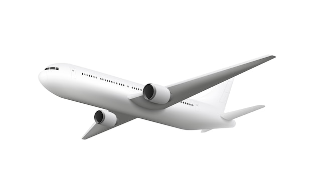 Realistic airplane flying isolated on white