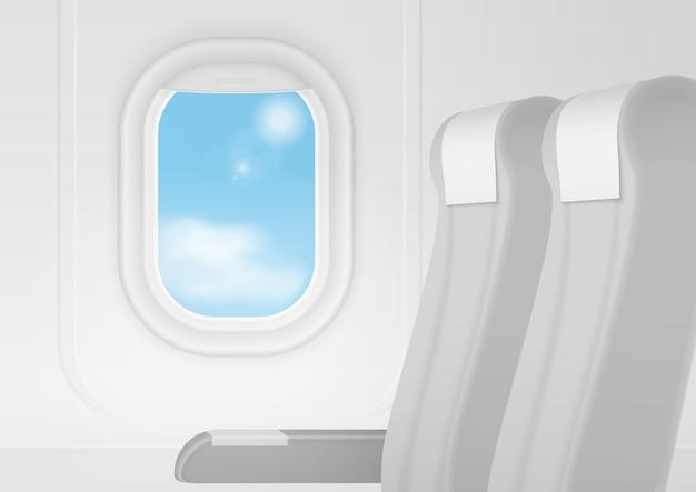 リアルな飛行機輸送インテリア。座席内の航空機は窓の近くの椅子に座ります。ビジネスクラスの旅行のコンセプト