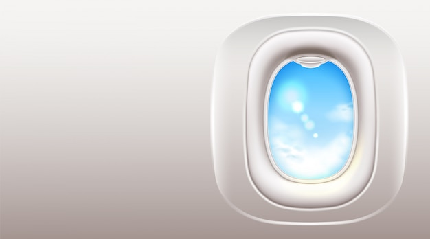 Realistic airplane window porthole for travel and tourism design