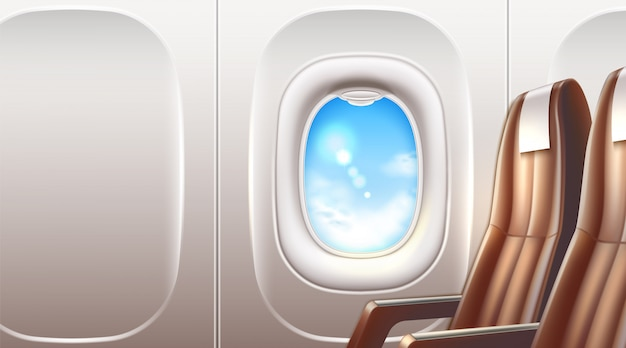 Realistic airplane window porthole with business class leather seats for travel and tourism