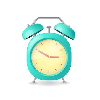 フラットスタイルのイラストで白地に青のリアルな目覚まし時計
