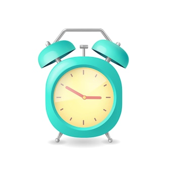 Realistic alarm clock blue on white in flat style illustration