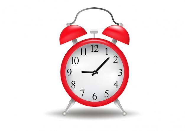 背景に分離された現実的な目覚まし時計赤。