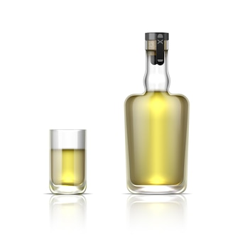 Realistic alcohol bottle. 3d glass shot with tequila or golden rum, alcohol beverage mockup