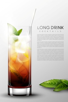 Realistic alcohol long drink glass poster