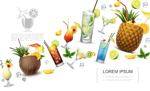 Реалистичная концепция алкогольных напитков с пина колада куба либре голубая лагуна текила восход мартини маргарита коктейли мохито и ломтики фруктов