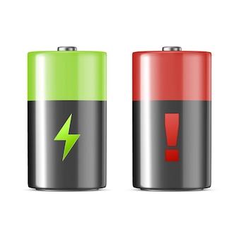 Реалистичные щелочные зарядки батареи значок набор шаблон дизайна крупным планом, изолированные на белом фоне