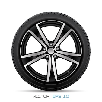 Realistic alloy car wheel with tire style racing