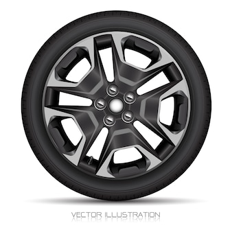Realistic alloy wheel car tire style sport