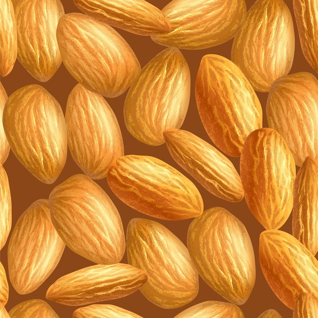Realistic almonds texture. seamless pattern.