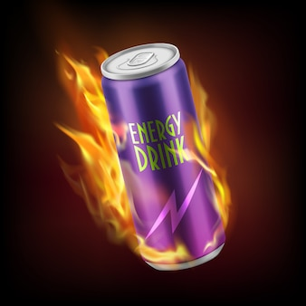 Realistic aluminum can with energy soft drink, burning in flames isolated on dark background.