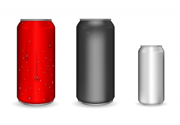 Realistic aluminum cans. metallic cans for beer, soda, lemonade, juice, energy drink