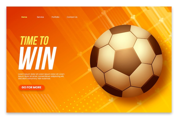 Realistic america cup landing page template with football