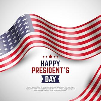 Реалистичный американский флаг на день президента с надписью