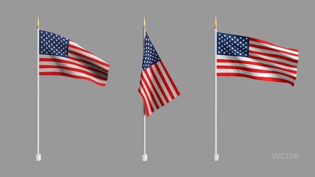 현실적인 미국 국기. 미국의 깃발을 흔들며. 광고 섬유 벡터 플래그입니다. 제품, 광고, 웹 배너, 전단지, 인증서 및 엽서 용 템플릿입니다.