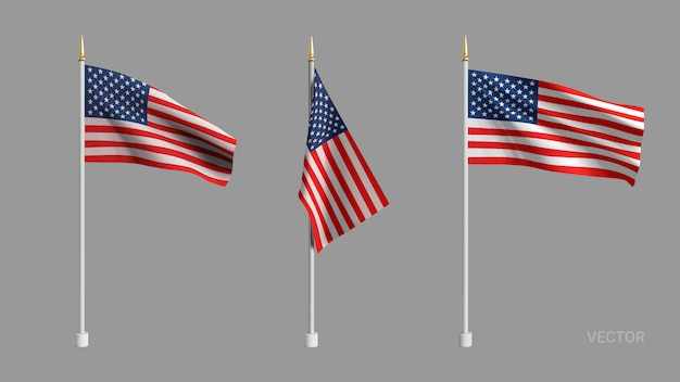 Realistic american flag. waving flag of the usa.  advertising textile vector flags. template for products, advertizing, web banners, leaflets, certificates and postcards.