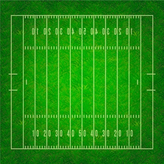 Realistic american football field in top view