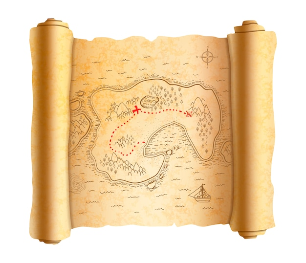 Realistic ancient pirate map of island on old scroll with red path to treasure