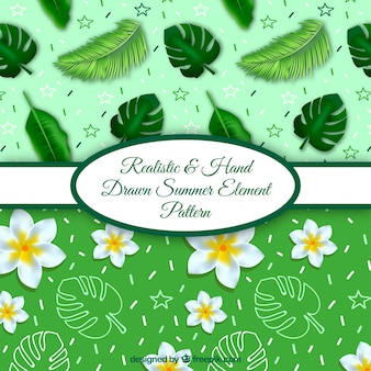 Realistic and hand drawn summer element patterns