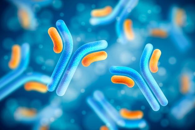 Sfondo di molecola di immunoglobulina anticorpo realistico