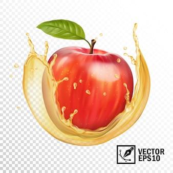 ジュースの透明なスプラッシュで現実的なリンゴ。編集可能な手作りメッシュ