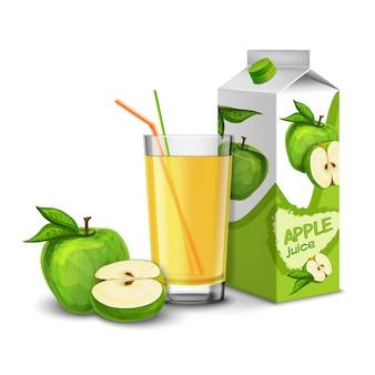 Реалистичная стакан яблочного сока с коктейльной соломкой и бумажным пакетом на белом фоне