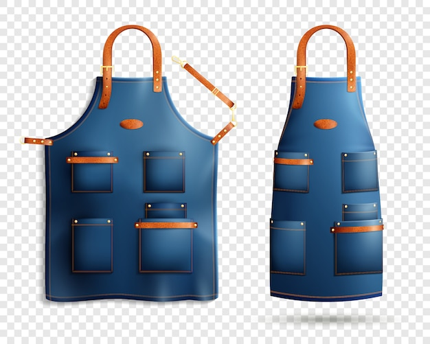 Realistic aprons transparent set
