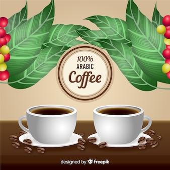 Реалистичная арабская кофейная реклама в винтажном стиле