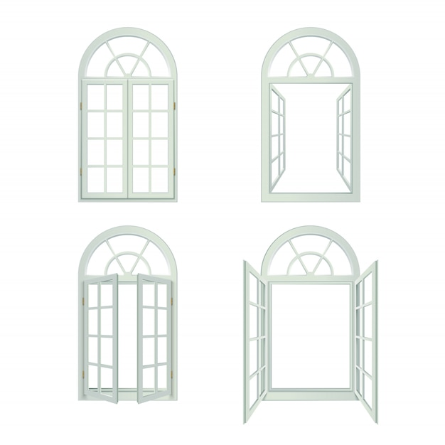 Realistic arched windows set